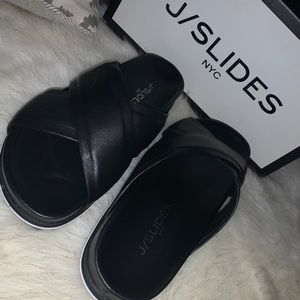J/Slides Olivia Black Leather Sandals